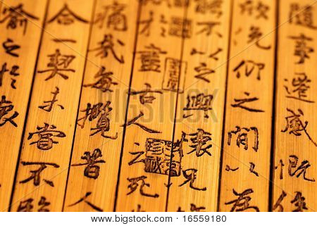 Chinese ancient bamboo slips,Chinese calligraphy were inscribed on the bamboo slips,which is the symbol of Chinese culture.