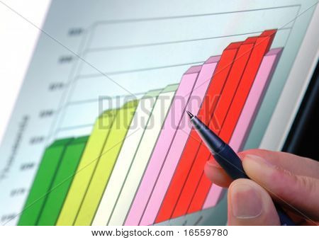 pen showing financial graph on screen