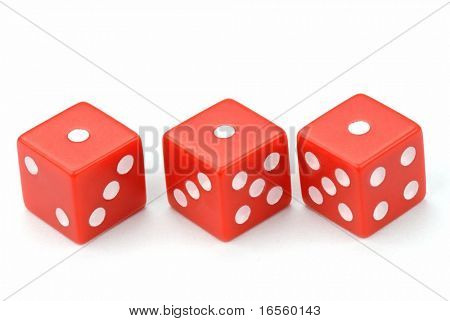 Three red dices isolated on white