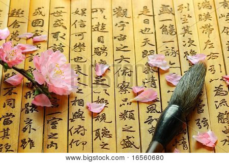 Pink Flowers and Brush on Chinese ancient bamboo slips