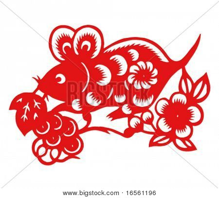Vector of Paper Cutting Series,Chinese Zodiac Sign(No.1)--MOUSE.