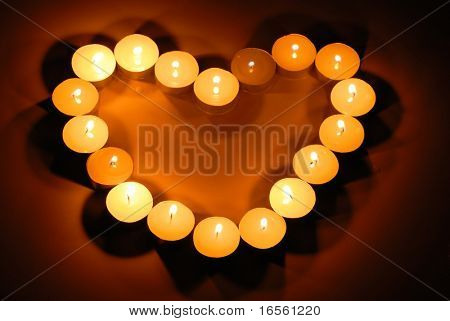 Candles in heart shape