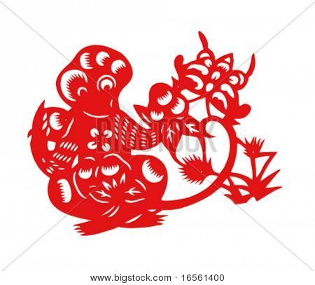 Vector of Paper Cutting Series,Chinese Zodiac Sign(No.9)--MONKEY.