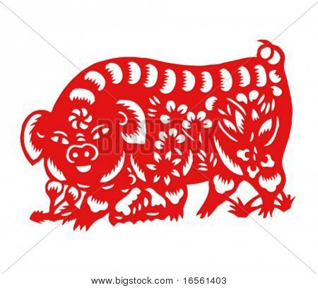 Vector of Paper Cutting Series,Chinese Zodiac Sign(No.12)--BOAR.