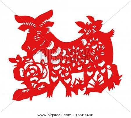 Vector of Paper Cutting Series,Chinese Zodiac Sign(No.8)--GOAT.