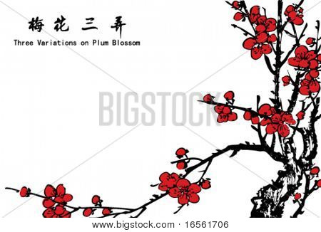 Vector of Ancient Traditional Artistic Plum Blossom Pattern with Handwriting.