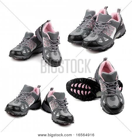 Set of sport shoes on white background.