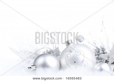 Silver Christmas bauble on white background