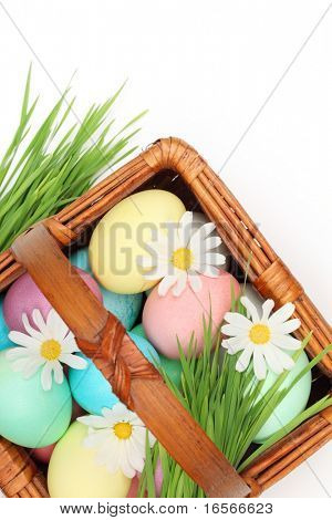 Basket full of easter eggs with spring flower