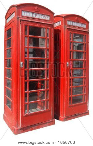 Two Classic Red British Telephone Boxes.
