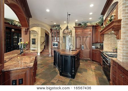 Elegant kitchen with cherry cabinetry
