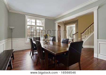 Dining room in luxury home with foyer view
