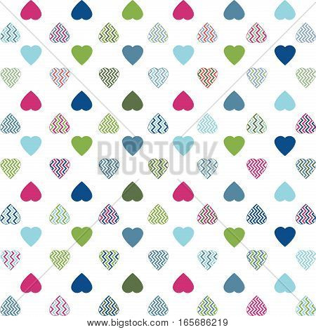 Illustration of abstract colorful heart shapes on a white background.