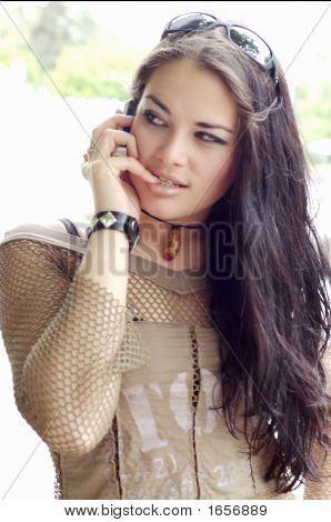 Pretty Teen On Cellphone