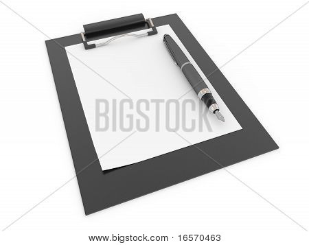 Pen On Clipboard. Empty Sheet Of Paper