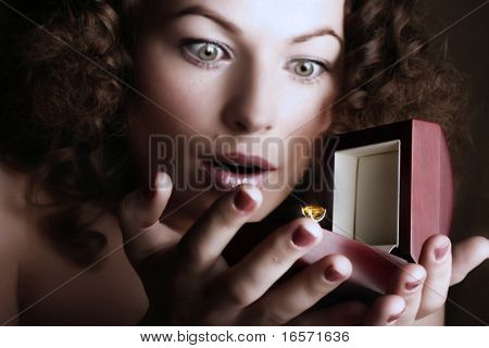 Beautiful woman receives a gift