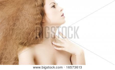 Portrait of sexy girl with beautiful hair. Isolated on white