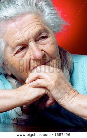 Elderly Person Contemplating