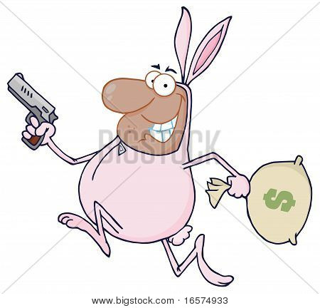Black Robber Running In A Bunny Costume