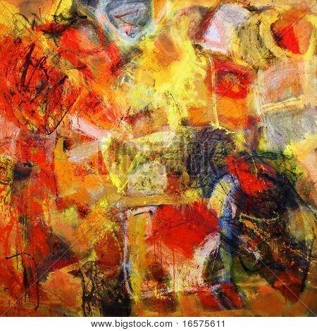 Постер, плакат: Смешанная техника выражения абстрактной живописи, холст на подрамнике