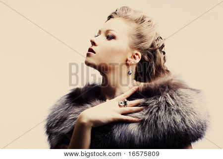 portrait of a beautiful lady in fur