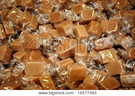 Caramels wrapped in plastic
