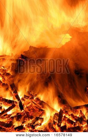Close-up of a bonfire