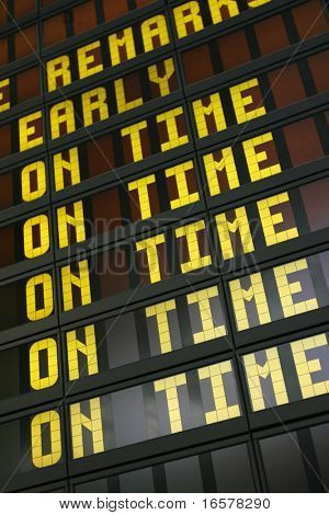 Airport board showing arrivals and departures on time