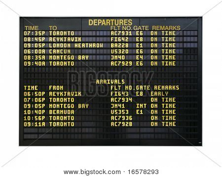 Airport board showing departures and arrivals to various cities isolated on white