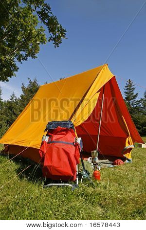 Beautiful and natural camping site on a bright summer day