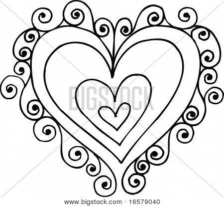 Swirly Heart Vector Illustration