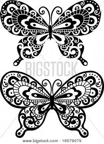 Schmetterling Vektor Abbildung Negative & positiv