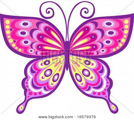 Pink Butterfly Vector Illustration