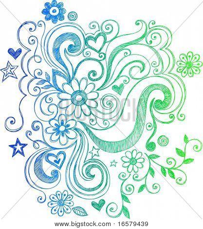 Remolinos y flores incompletos Doodle Vector Illustration