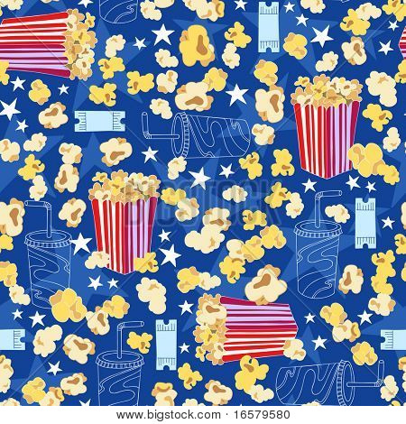 Popcorn and Soda Movie Theater Seamless Repeat Pattern Vector Illustration