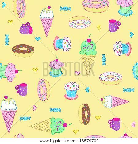 Desserts und Süßigkeiten nahtlose wiederholen Muster-Vektor-Illustration