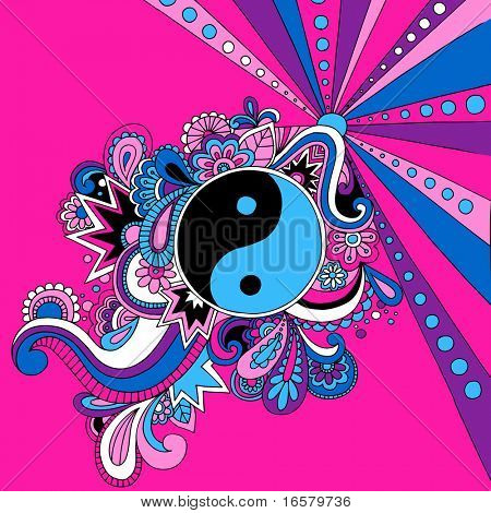 Psychedelic Groovy Yin Yang Vector Illustration