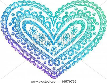 Sketchy Doodle Henna Heart Vector Illustration