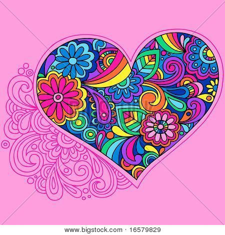 Groovy Psychedelic Heart Vector Illustration