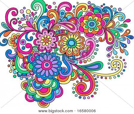 Hand-Drawn Psychedelic Abstract Groovy Henna Paisley Vector Illustration