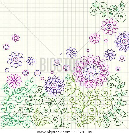 Hand-Drawn Henna Flower Doodles on Graph (Grid) Paper Background- Vector Illustration