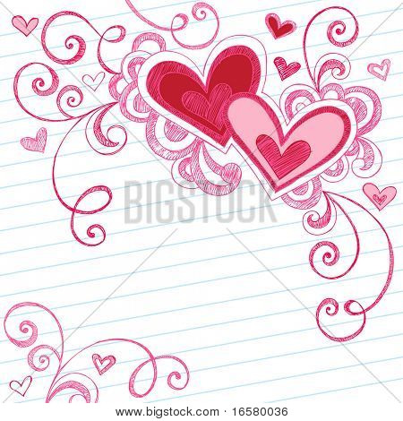 Hand-Drawn Valentine's Day Hearts Sketchy Notebook Doodles on Lined Paper Vector Illustration