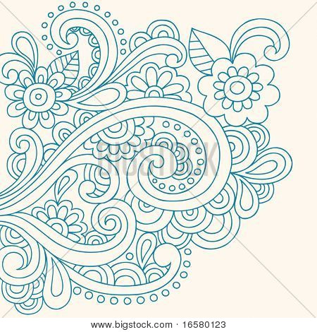 Hand-Drawn Henna Paisley and Flowers Abstract Doodle Vector Illustration