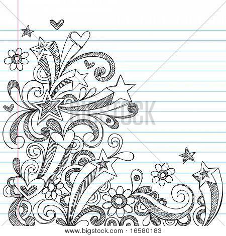 Corazón y la estrella incompleto dibujado a mano garabatos en Vector de papel de cuaderno forrado