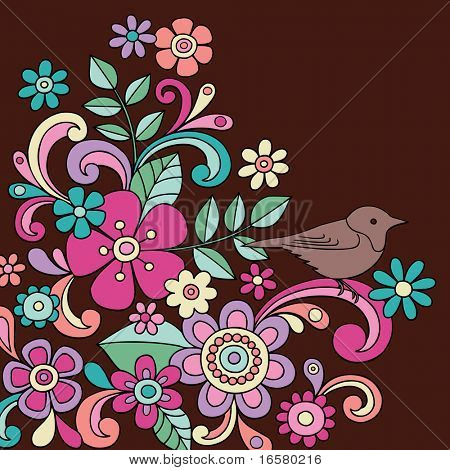 Hand-Drawn Psychedelic Abstract Paisley Henna Flower and Bird Doodles Vector Illustration