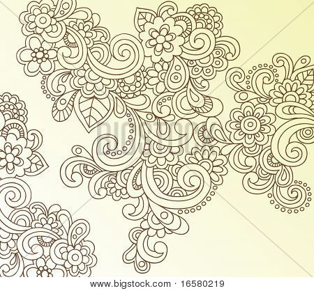 Hand-Drawn Abstract Henna Paisley Doodles and Flowers Vector Illustration