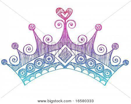 Hand-Drawn Sketchy Royalty Princess Tiara Crown Notebook Doodles Vector Illustration