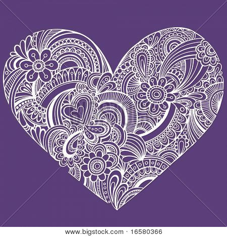Hand-Drawn Intricate Henna Tattoo Paisley Heart Doodle Vector Illustration