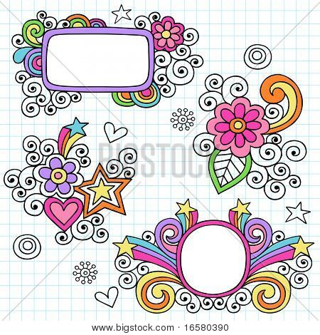 Hand-Drawn Psychedelic Notebook Doodle Frames on Graph (Grid) Paper Background- Vector Illustration