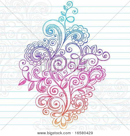 Hand-Drawn Abstract Paisley Swirls Sketchy Doodles on Lined Notebook Paper Vector Illustration